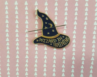 Wizard in training needle minder for cross stitch or embroidery