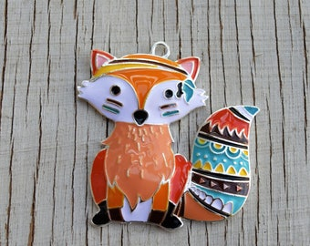 Fox colorful 49mm x 46mm zinc alloy pendant for necklaces bubblegum necklace girl's jewelry chunky gumball necklace wholesale supplies