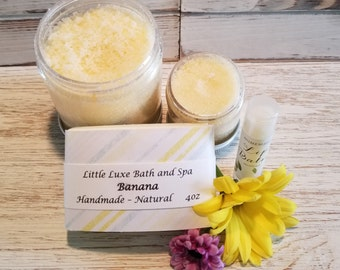 Banana- Bath Gift Set- Spa Gift Set, Gift for Her, Spa Gift Box, Natural Beauty, Body Scrub Gift Set, Bath & Beauty Gift Set, Birthday Gift