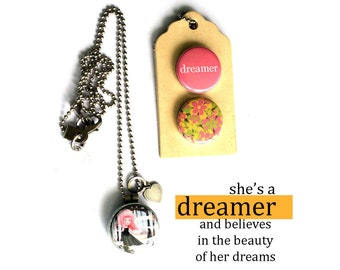 DREAMER Locket Necklace - Gift for Dreamer, Magnetic Jewelry, 3 in 1 Locket, Dreamer Jewelry, Little Dreamer, Archetype, Polarity, Solocosmo