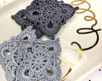 Medium Gray Earrings, Crochet Earrings, Feather Weight Earrings, Lightweight Earrings, Wedding Earrings
