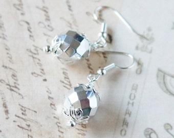 Silver Czech Beads Earrings, Silver Glass Earrings, Czech Glass Earrings, Fire-Polished Beads Earrings, Small Earrings, Round Beads Earrings