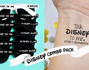 10 Custom Disney Sunglasses & 10 Temporary Disney Tattoos Combo Pack