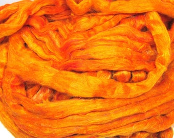 Recycled Carded Sari Silk Fibres - Gold 50g