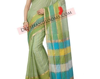Pastel Green Mangalagiri Handloom Cotton saree with blouse