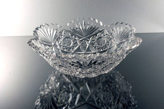 American Brillant Bowl, Leaded Crystal, Cut Glass, Hobstar, Fan, Sawtooth Edge, Centerpiece