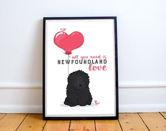 Newfoundland Dog • All you need is Newfoundland love poster/digital download