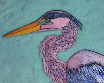 Great Blue Heron Art, Bird, Collograph, Fine Art Print - Walking and Stalking 11