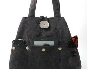 gray handbag, fabric tote bag, grey purse, shoulder bag, diaper bag, multi pocket bag , shoulder purse, hobo bag