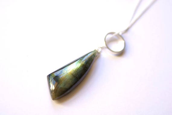 Big Labradorite Pendant, Labradorite Necklace with Sterling Silver Chain. Labradorite Gemstone, Labradorite Cabochon