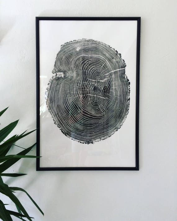 Tree Ring Art, Ash Tree, Tree Stamp, Tree Rings, Real Tree Art, Original Art, Hand Pressed, Woodblock print, Fathers day Tree, Dad art gifts