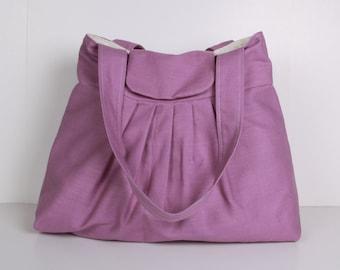 Purple Pleated Bag, Shoulder Bag ,Everyday Purse ,Tote Bag,Lilac ...MIST