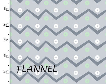 Mint & Gray Chevron Flannel Fabric, Chevron Quilt Flannel, 3 Wishes Playful Cuties 13005, Gray and Mint Flannel, Cotton Flannel Yardage