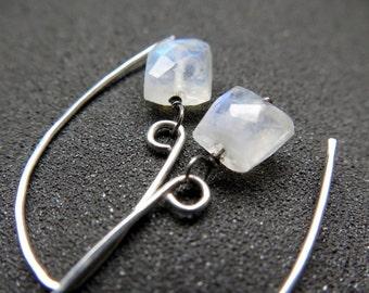 white moonstone earrings. sterling silver dangle earings. made in Canada.