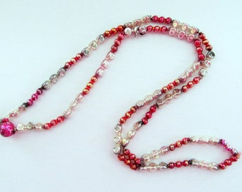 Vintage Christmas Mercury Glass Bead Garland/ PInk Christmas Garland/ Faceted Mardi Gras Bead Necklace