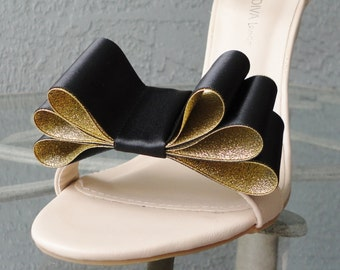 Christmas New Year Colors Two Tone Satin Ribbon Bow Shoe Clips Black and Gold Set Of Two, More Colors Available