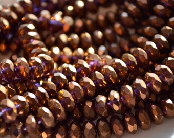 Amethyst Bronze Faceted 7mm Rondelle Beads