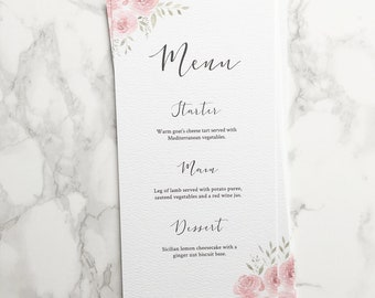 Blush Floral Watercolour Wedding Menu // custom stationery // hand painted // summer wedding // calligraphy menu