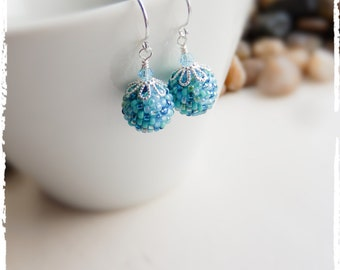 Touch of Teal Speckled Beaded Ball Earrings