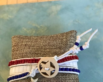 Patriotic Triple Wrap Beaded Bracelet Forth of July! Red white and Blue! Free shipping!