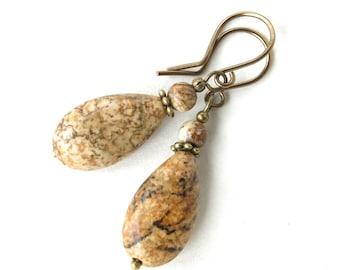 Stone dangle earrings - brown beige tan picture jasper gemstone teardrop