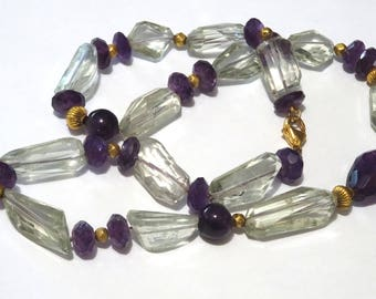 Amethyst, Prasiolite and 18 k gold beads necklace.