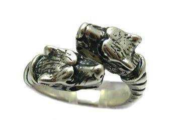 Sterling silver two wolves ring solid 925 pendant