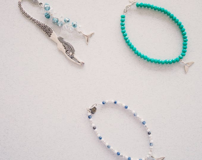 Silver and Turquoise Whale Tail Beaded Anklet.