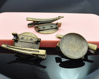20PC Antique Bronze Brooch Pin/Alligator Clip Combo - 25mm Glue Pad- Alligator Clip - Brooch Pin