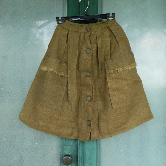 Vintage Farm Girl Chic Bobby Brooks A-Line Short Skirt with Big Pockets Size 11