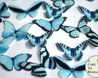 """20 blue edible butterflies, wafer paper, 2"""" wide, for cake decorating, boy baby showers, unique wedding cake toppers, cupcake decor"""