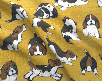 Beagle Fabric - Beagle Puppies By Friztin - Beagle Dog Novelty Pet Cotton Fabric By The Yard With Spoonflower