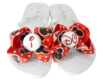 Glitter Disney wedding I DO flip flops for the bride- or choose any colors -white or ivory with Minnie Mouse Bows