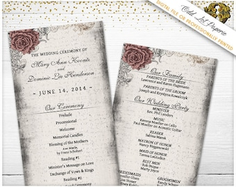 Elegant Rose Wedding Programs Vintage Wedding Programs Printable Floral Rose Wedding Ceremony Programs, Any Color, Rose and Lace party