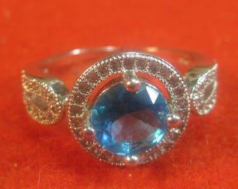 A-27 Beautiful 925 silver Ring  topaz jewel size 9