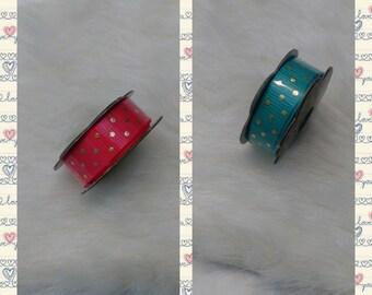 Teal ribbon with gold polka dot,bright pink ribbon with gold polka dot 3/8 in x 6ft
