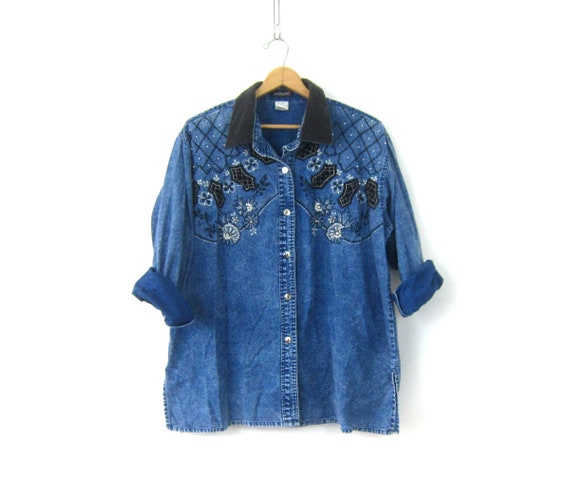 Oversized Beaded Shirt Dark Wash denim jean Stonewash Shirt Button Down Top Embroidered Floral Top Women's Size 1X