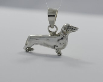 Vintage Sterling Silver Dachshund Wiener Dog Pendant or Charm 4.03 Grams
