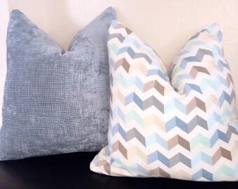 Blue Basketweave Throw Pillow-Light Blue Pillow Cover-Modern Beige Blue Cover-Blue Accent Pillow