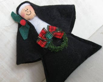 Nun ornaments, pack of 12, Christmas ornaments, nun with wreath, holly trim, wine topper, hostess gift ornament, nun of a kind, sister gift