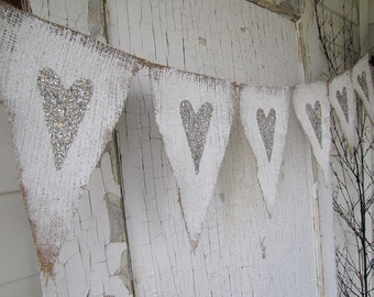 Tarnished Silver Hearts Painted Burlap Banner