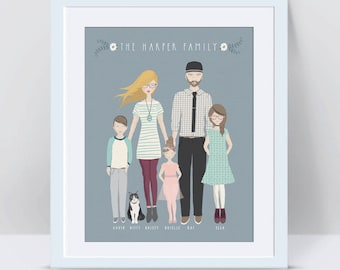 Custom Family Portrait, Anniversary Gifts for Men Family Portrait Illustration Custom Illustrated Family Portrait Fathers Day Gift Cartoon
