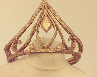 Golden Princess crown cosplay headpiece costume accessory, queen tiara, fancy dress party, made to order, ladies, womens, girls, role play.