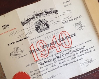 Antique 1940 New Jersey Real Estate License. Office Wall Decor. Paper Ephemera.