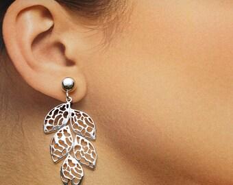 925 Solid Sterling Silver LEAF Earrings/Stud/Earring Jacket/Dangle/Polished
