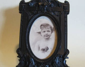 Antique Victorian vulcanite picture frame, ebonite; French, 19th century