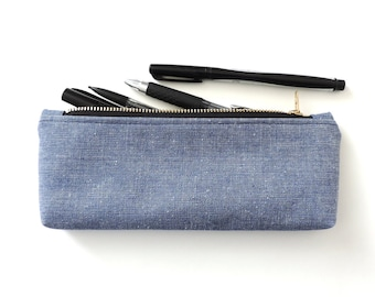 Blue Chambray Pencil Case Zipper Pencil Pouch