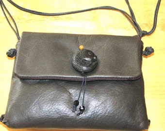 Big Fish Black Leather Whip-Stitch Cross Body Pouch Handmade