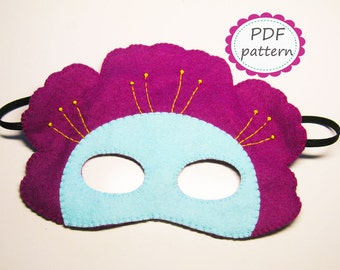 PDF PATTERN Flower felt mask sewing tutorial instruction DIY handmade costume accessory for girl woman Dress up play - Instant dawnload