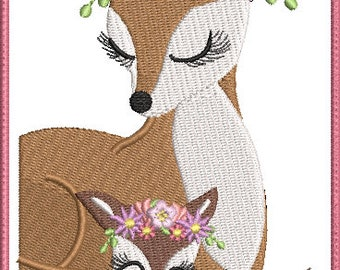 Mommy and Baby Deer with flower wreath